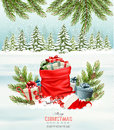 Holiday Christmas Background With A Sack Full Of Gift Boxes. Stock Images - 82210444
