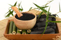 Fresh And Dried Bamboo And Bamboo Charcoal Powder. Stock Images - 82226944