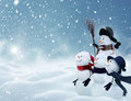 Many Snowmen Standing In Winter Christmas Landscape Royalty Free Stock Photos - 82232528