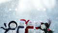 Many Snowmen Standing In Winter Christmas Landscape Stock Images - 82233334
