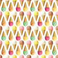 Ice Cream Scoops And Cones Seamless Pattern Stock Image - 82233631