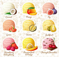 Set Of Cartoon Vector Icons  On White Background.  Coconut, Mango, Fig, Guava, Durian, Jackfruit, Strawberry And Royalty Free Stock Photo - 82233655