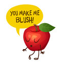 Red Apple Character Says You Make Me Blush. Cartoon  Illustration Royalty Free Stock Images - 82233989