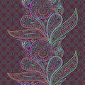 Seamless Colorful Vertical Lace Pattern With Paisley. Vector Background. Stock Photo - 82251830