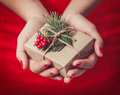 Female Hands Holding Christmas Gift Box With Branch Of Fir Tree, Shiny Xmas Background. Holiday Gift And Decoration Royalty Free Stock Photo - 82253535