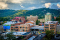 View Of Mountains And Buildings In Downtown Asheville, North Car Royalty Free Stock Photography - 82256147
