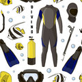 Diving Equipment Pattern Royalty Free Stock Images - 82272779