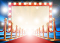 Red Carpet Light Bulb Sign Royalty Free Stock Photography - 82289277