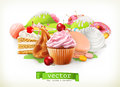 Sweet Shop. Confectionery And Desserts, Cake, Cupcake, Candy, Caramel. Vector Illustration Royalty Free Stock Image - 82305146