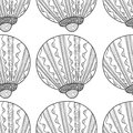 Black White Seamless Pattern With Decorative Sea Shells For Coloring Royalty Free Stock Photos - 82316648