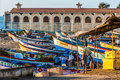 Fishing Boats Standing On The Shore In Kanyakumari Town Royalty Free Stock Photo - 82323895