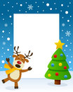 Christmas Tree Frame With Happy Reindeer Royalty Free Stock Images - 82326029
