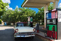 American Red White Classic Car On The Gas Station In Varadero Cuba - Serie Cuba Reportage Royalty Free Stock Photography - 82326727