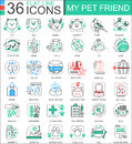 Vector My Pet Friend Flat Line Outline Icons For Apps And Web Design. Pet Icon. Royalty Free Stock Images - 82333339