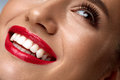 Beauty Fashion Woman Face With Perfect White Smile, Red Lips Royalty Free Stock Photo - 82337005