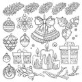 Vector Set Christmas, New Year Abstract Elements Stock Image - 82350421
