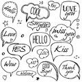 Set Of Hand Drawn Think And Talk Speech Bubbles With Love Message, Greetings And Sale Ad. Stock Image - 82360741