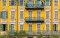 Mediterranean Facade With Illusion Paint Work In Nice France Stock Photos - 82378753