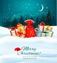 Holiday Christmas Background With A Sack Full Of Gift Boxes. Stock Images - 82380204