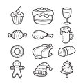 Food And Drink Outline Icons Set For Christmas Day Royalty Free Stock Images - 82381269