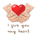 I Give You My Heart. Heart In Hand Of Romantic Gift Concept For Valentines Day. Stock Images - 82391354