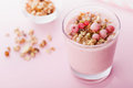 Berry Smoothie Or Milkshake On Pink Table For Dessert, Snack And Breakfast. Stock Photos - 82393693