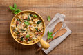 Baked Bread Pudding With Cheese Stock Image - 82395741