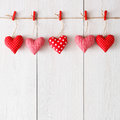 Valentine Day Background, Pillow Hearts Border On Wood, Copy Space Stock Image - 82399071