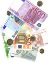 From 5 To 500 Euro And Coins Royalty Free Stock Photography - 8240347