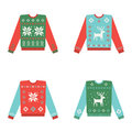 Set Of Ugly Christmas Sweaters With Winter Pattern Stock Photo - 82403980