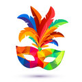 Carnival Mask With Feathers With Colorful Triangles Pattern Royalty Free Stock Images - 82472169