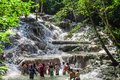 The Dunn`s River Falls Are Waterfalls In Ocho Rios In Jamaica, Which Can Be Climbed By Tourists. Royalty Free Stock Photos - 82496718