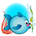 Fish, Air Bubbles And Anemone - Kids Illustration Stock Photo - 8250680