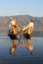Traditional Fishermen At Inle Lake In Myanmar Royalty Free Stock Images - 82533129