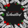 Merry Christmas Fir Tree Card. White And Red Watercolor Branches And Balls. Calligraphy Greeting Poster Template Stock Photos - 82557013