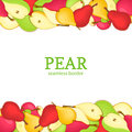 Pear Horizontal Seamless Border. Vector Illustration Card Top And Bottom Yellow Red  Green Pears Fruits Whole  Slice Stock Images - 82562074
