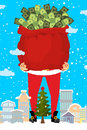 Santa And Bag Of Money. Christmas Gift Cash. Red Sack With Dolla Royalty Free Stock Images - 82563319