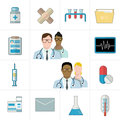 Medical And Pharmaceutical Or Pharma Icons. Thermometer, Tablets And Pills, Drug, Cardiogram, Syringe, Folder And Documents. Stock Photo - 82564590