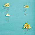 Popcorn Clouds With Colorful Rain Royalty Free Stock Image - 82564756