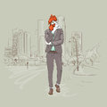 Cartoon Rooster Hipster Wearing Business Suit Over Modent City Skyscraper Traditional Asian 2017 New Year Symbol Royalty Free Stock Photos - 82565038