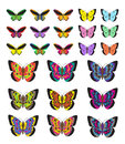 Butterfly Set, Isolated On White Background. Multicolored Butterflies. Vector Illustration, Clip Art. Stock Photo - 82581220