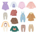Infants Baby Child Clothes Vector. Stock Image - 82592961