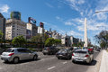 Obelisk And Avenida 9 De Julio  With Traffic Car In Buenos Aires Royalty Free Stock Image - 82598776