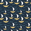 Seamless Pattern With Boats Stock Images - 8265774