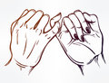 Pinky Promise, Hand Holding. Trendy Vector Art Royalty Free Stock Photos - 82618628