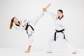 The Karate Girl And Boy With Black Belts Royalty Free Stock Photos - 82630918