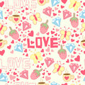 Seamless Background With Cup, Diamond, Hearts, Strawberries, Butterflies And Love. Royalty Free Stock Photo - 82632635