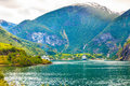 Cruise Ship On Fjord Sognefjord In Flam Norway Royalty Free Stock Photos - 82633848