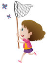 Girl Catching Butterflies With Net Royalty Free Stock Photo - 82647775