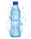 Water Splashes In Light Blue Colors Around A Plastic Bottle Stock Photo - 82659270